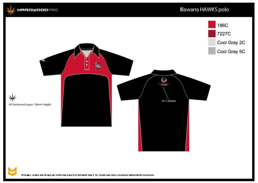 Illawarra Hawks Black Polo Shirt