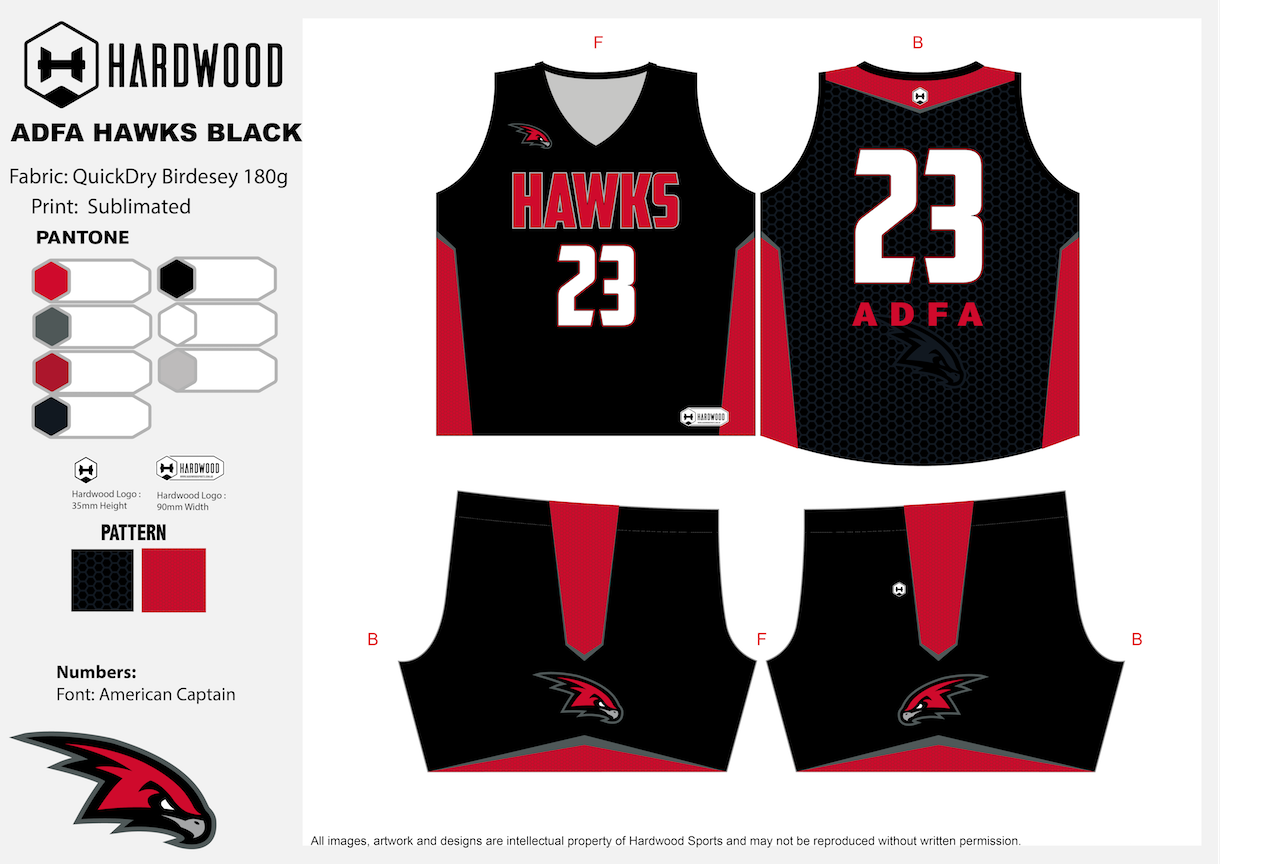 ADFA Hawks Basketball Black Uniform Set