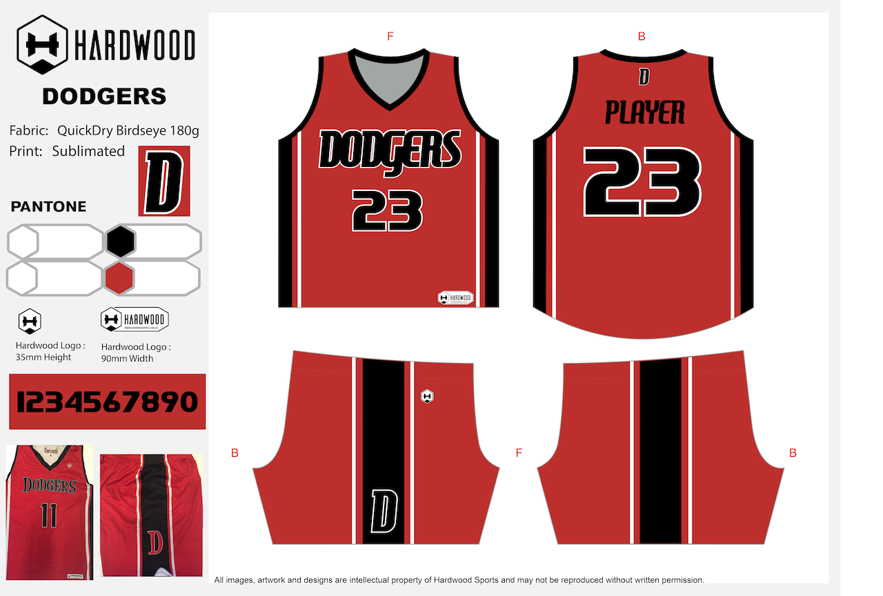 Weston Creek Dodgers Basketball Uniform Set