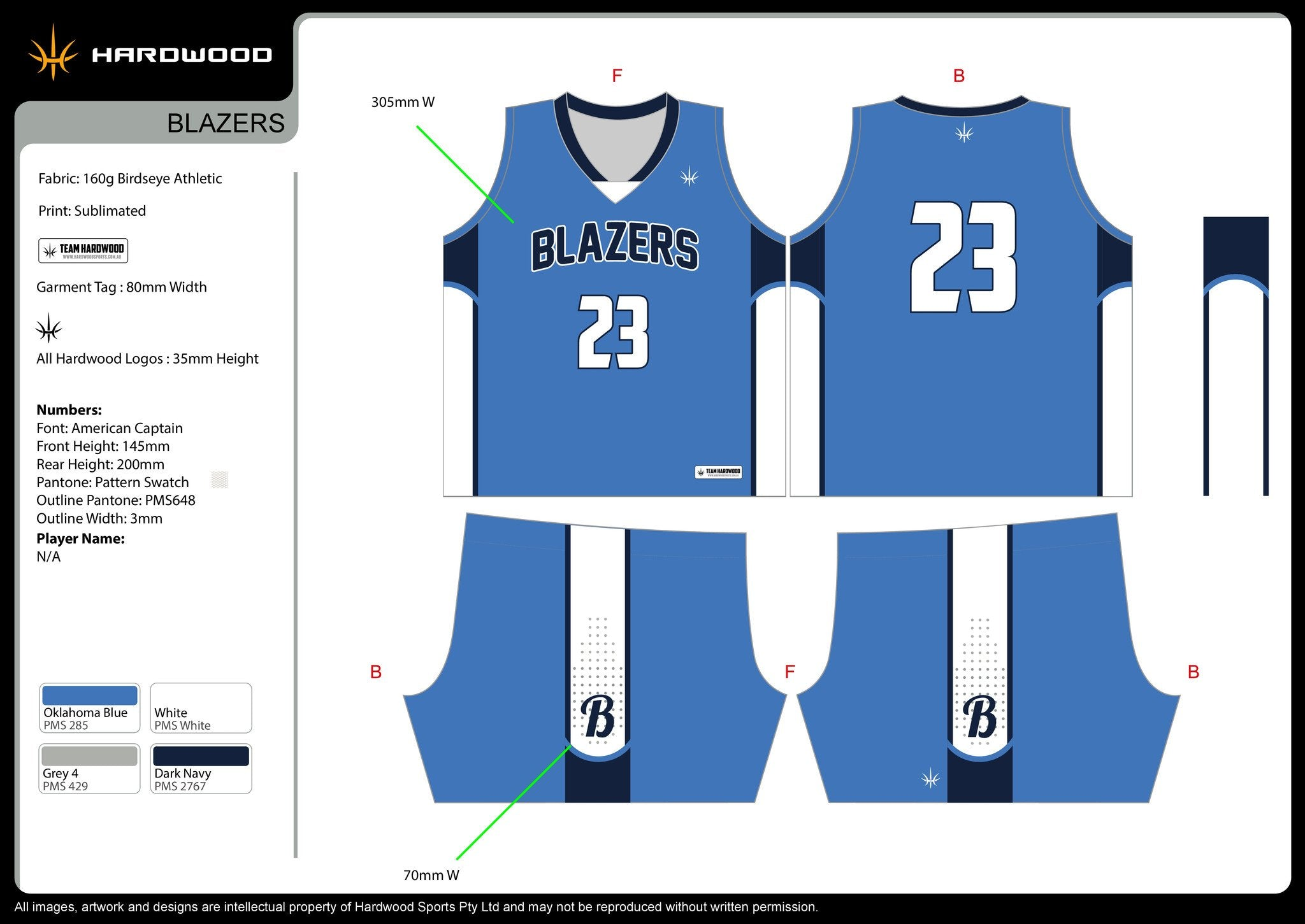 Blazers Basketball Uniform Set