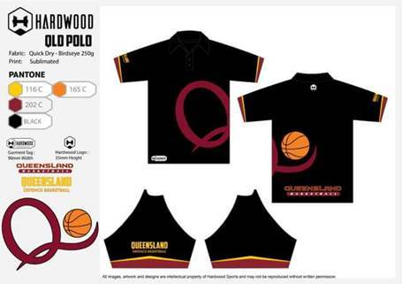 ADFBA QLD Basketball Polo Shirt (Black Shirt)