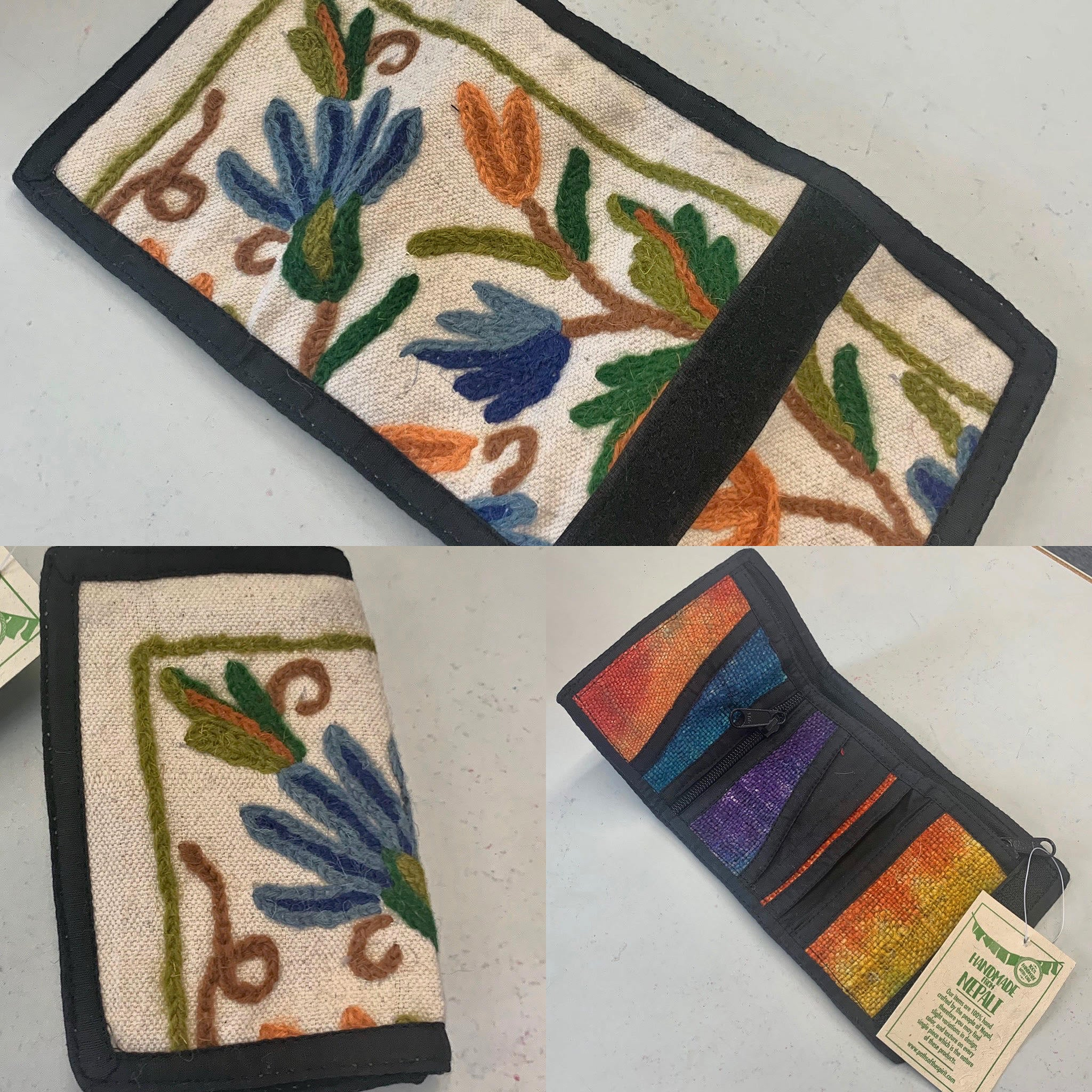 Tri Fold Hand-stitched wallet w/Embroidered Flower - Made in Nepal