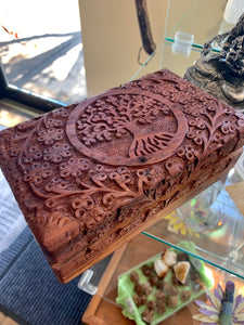 Carved Wooden Box Tree of Life w/Floral 5X8""