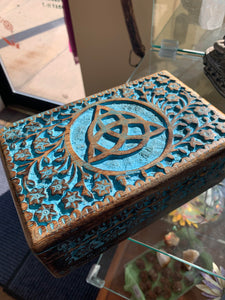 "Carved & Painted Wood Box w/Triquetra  ""5X8"""