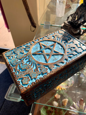 Carved and Painted Wooden Storage Box w/Pentacle