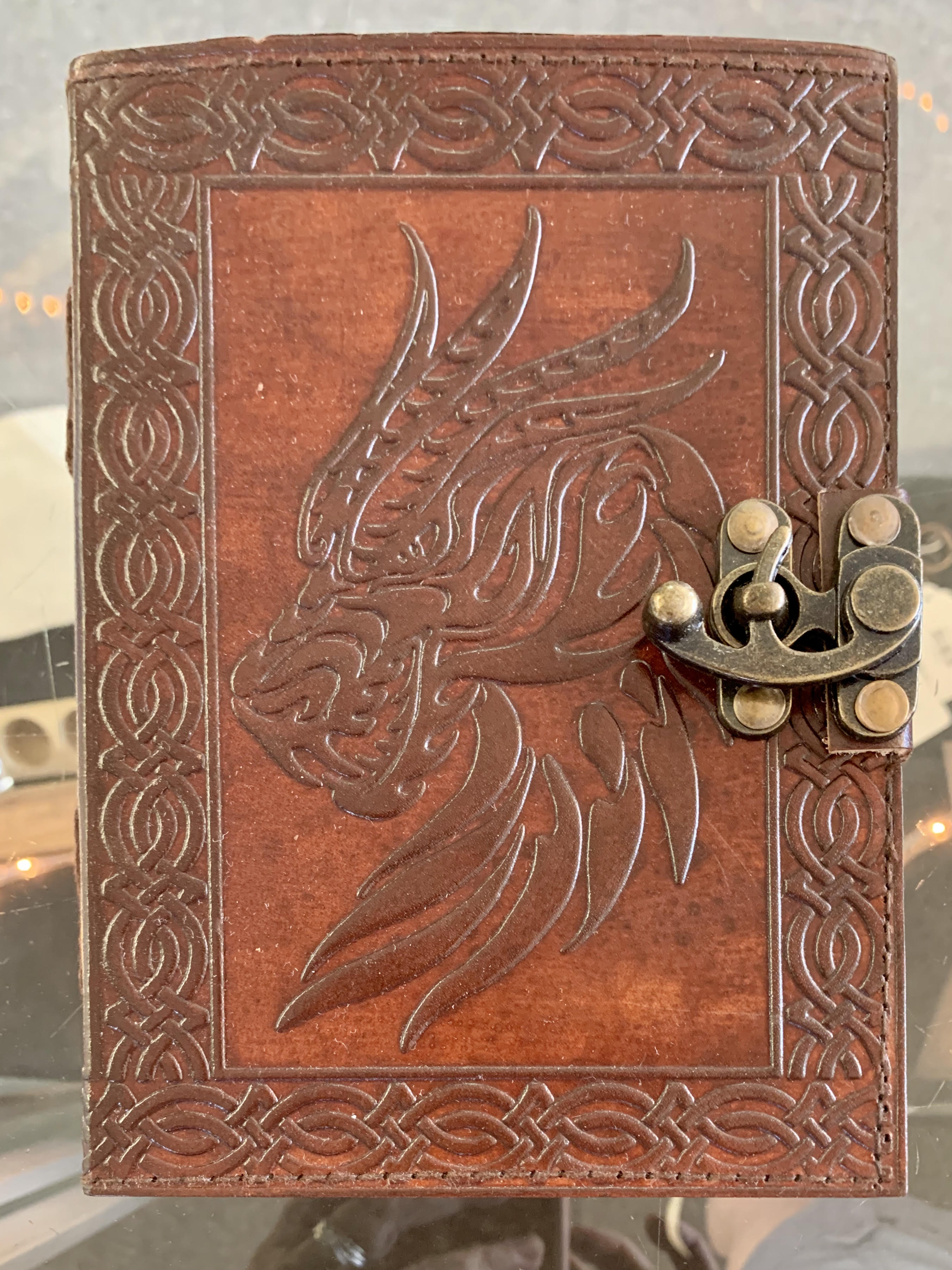 Celtic Dragon Leather Journal w/Latch