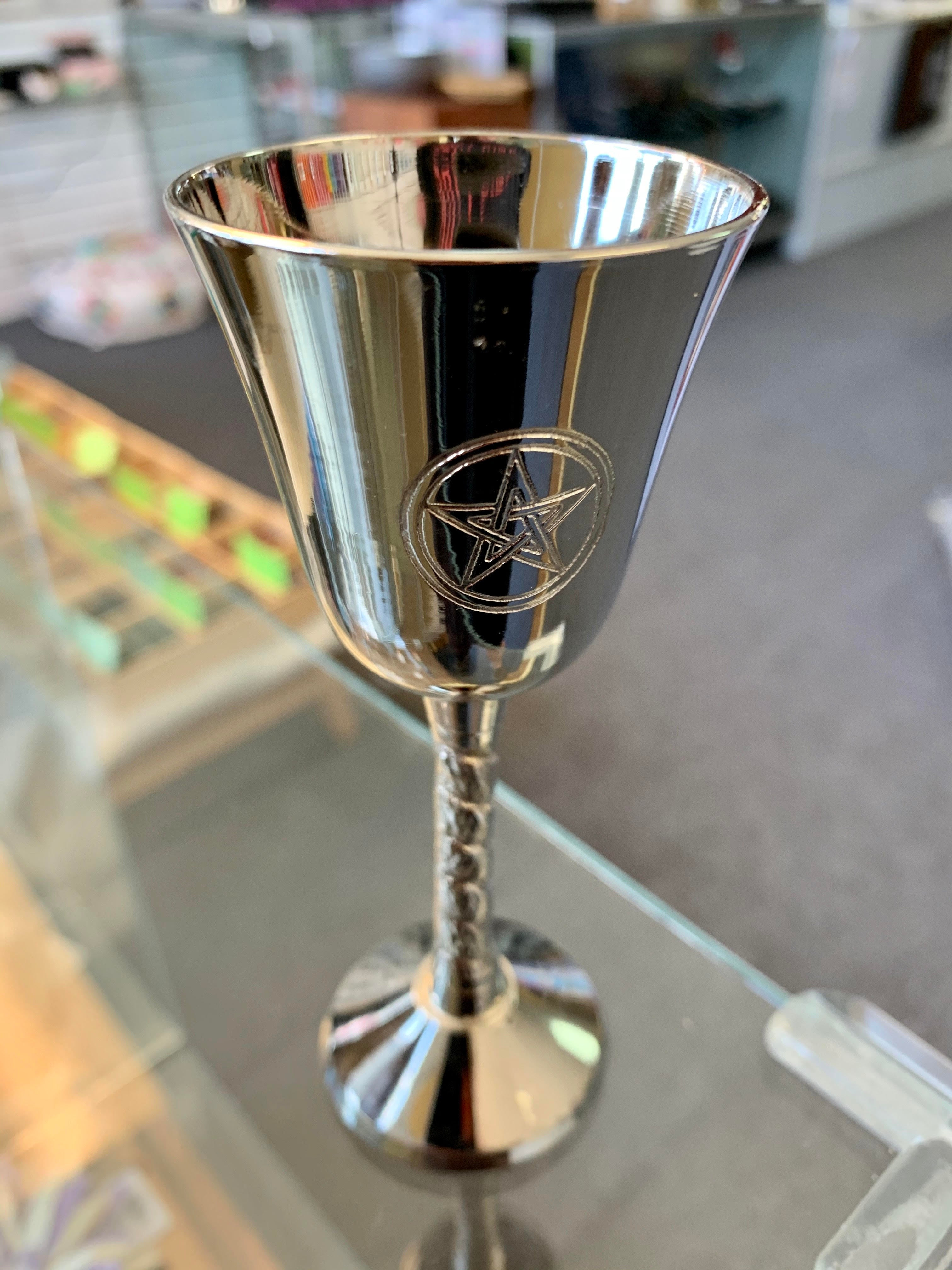 "Brass Chalice Silver Finish 5"" (Pentacle)"