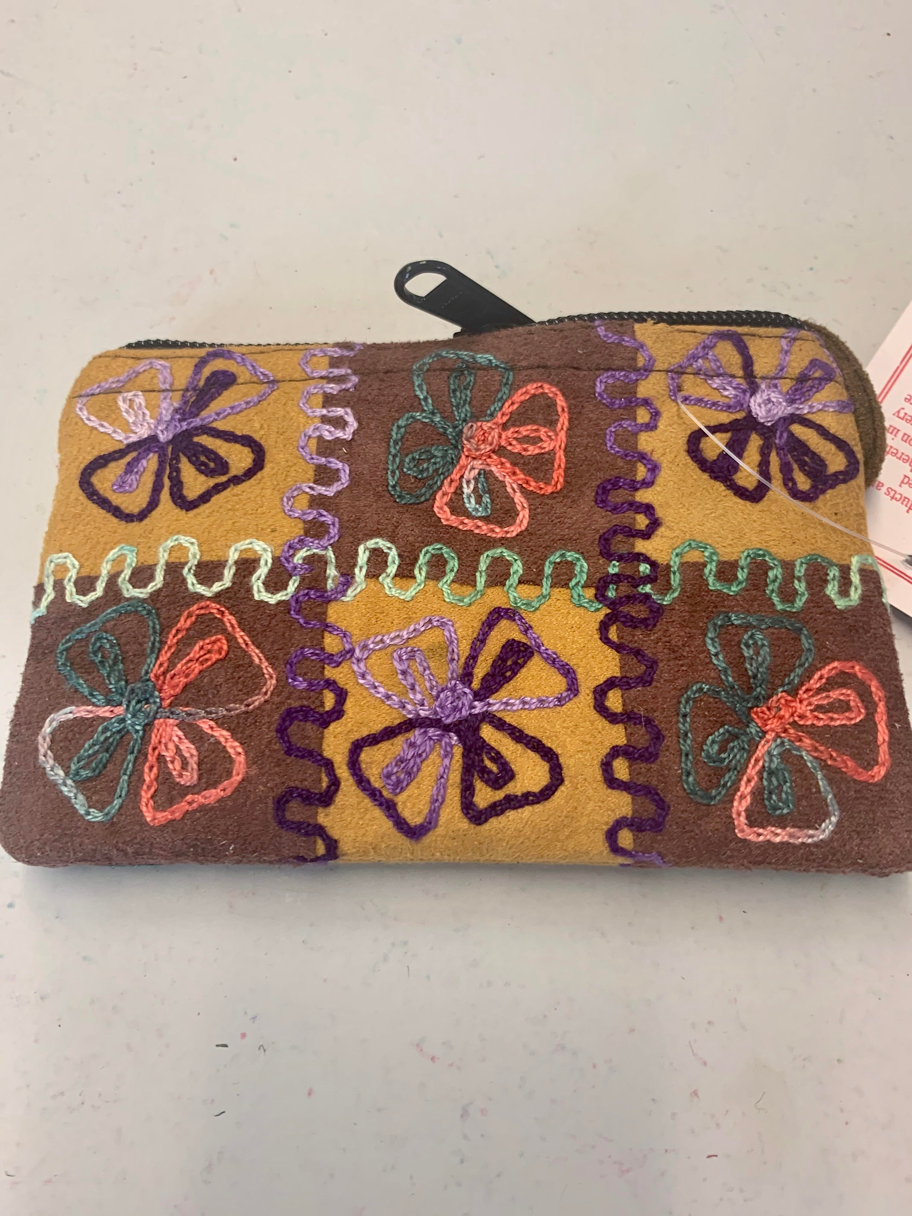Hand-stitched Suede Coin Purse w/Embroidery - Made in Nepal