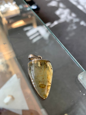 Amber Free Form Pendant w/Insects