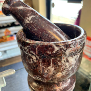 "4"" Red Zebra Mortar and Pestle"