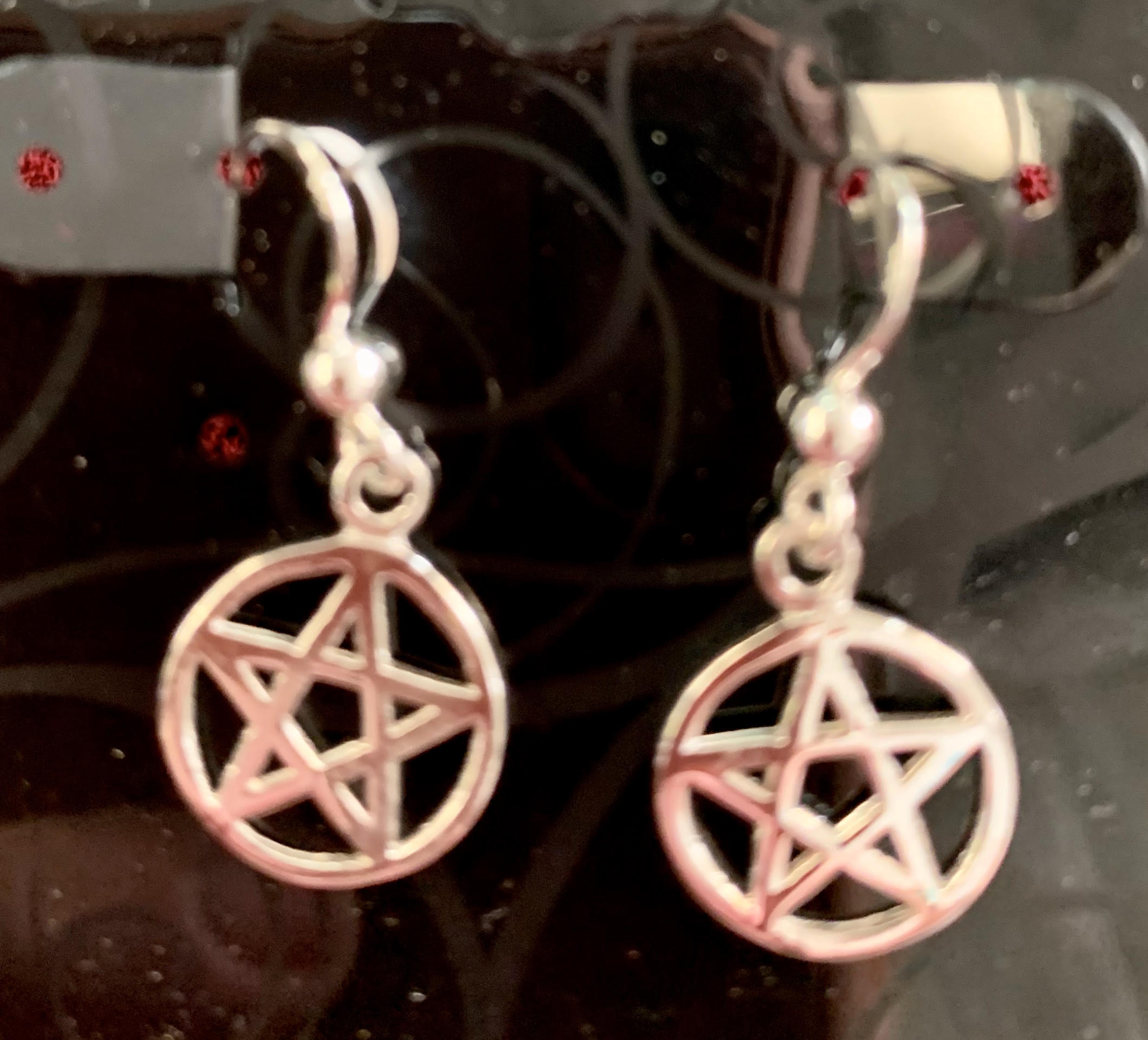 Sterling Silver Pentacle Earrings for Protection