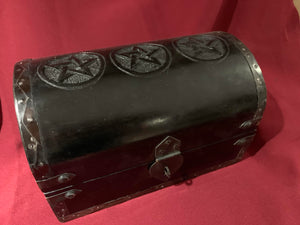 Wooden Storage Chest - black w/ Pentagrams