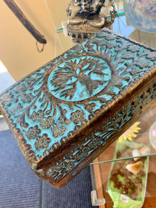 "Carved & Painted Wood Box w/Tree of Life  ""5X8"""