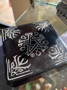 Black Soapstone Pentacle Box