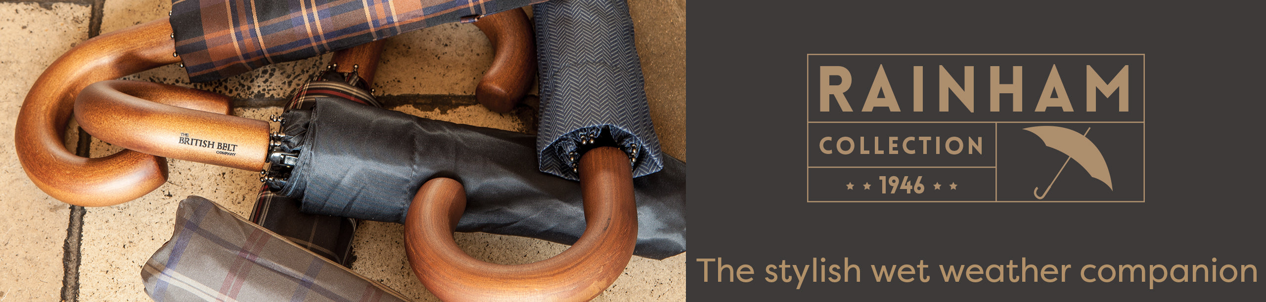 The British Belt Company Rainham umbrella long handle and short handle collection, ideal for those rainy days.