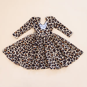 Puff Sleeve Dress in Leopard Long Sleeve - Material Flaws