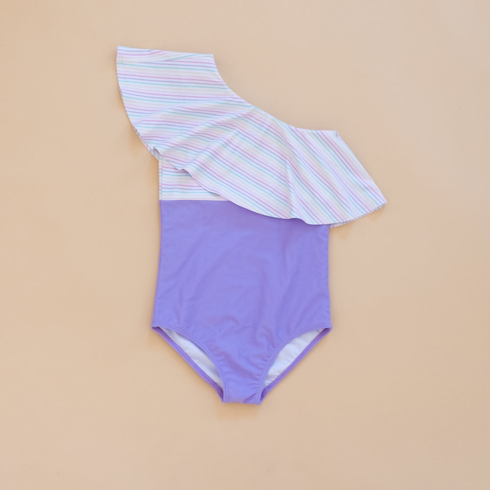 Pastel Rainbow Stripe One Shoulder Swim Suit
