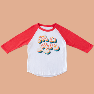 The product photo of the for the love red raglan tee