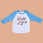 The product photo of the for the love blue raglan tee