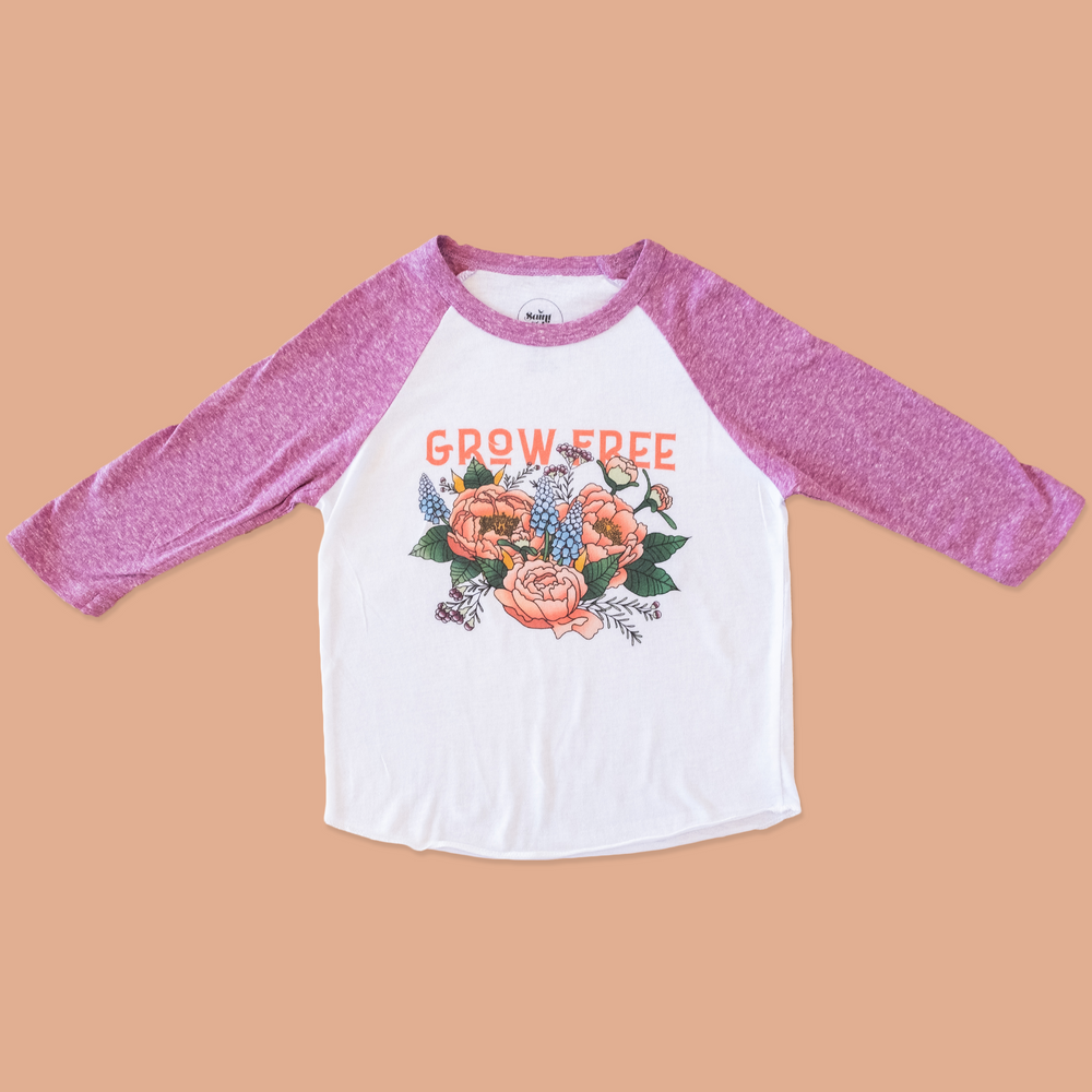 product photo of the grow free purple ringer tee