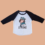 She is Strong Black Raglan Tee