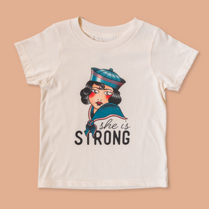 product photo of the children's she is strong tee