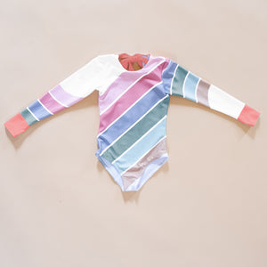 Retro Rainbow Long Sleeve Swim - Pastel