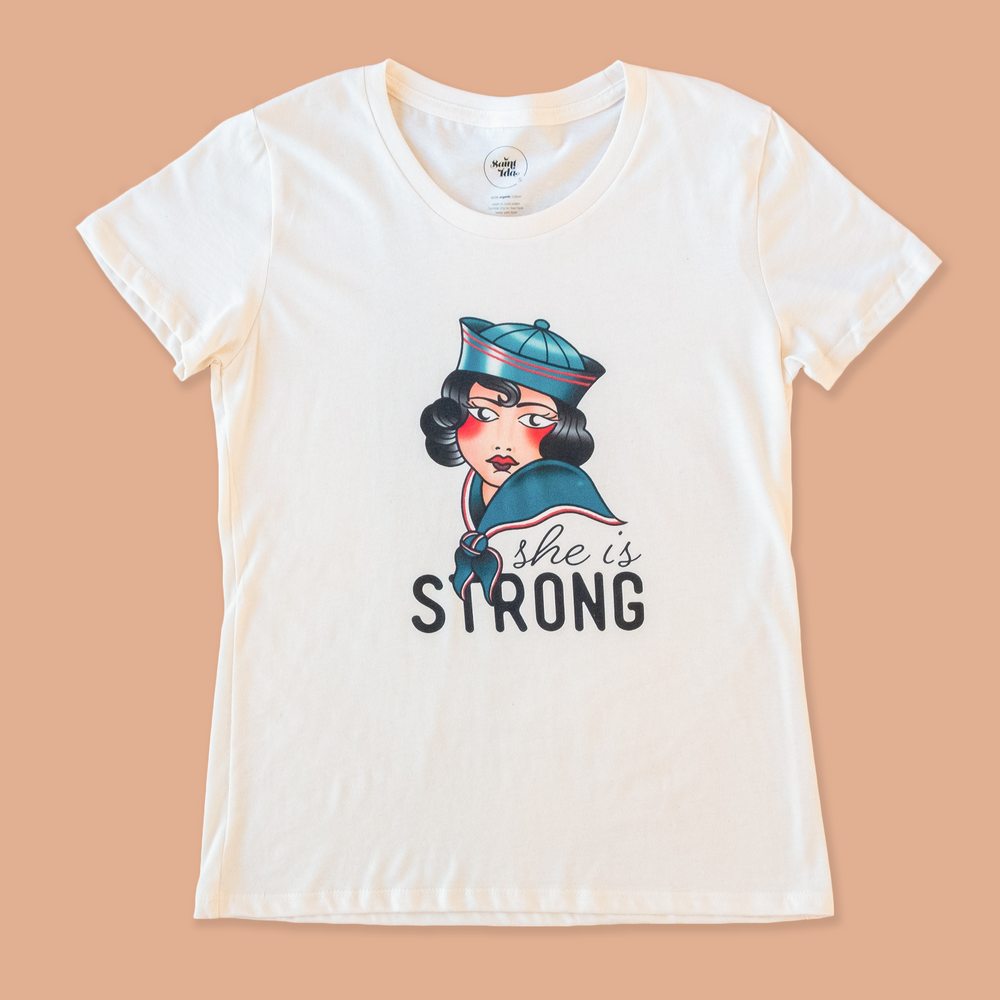 product photo of the women's she is strong tee