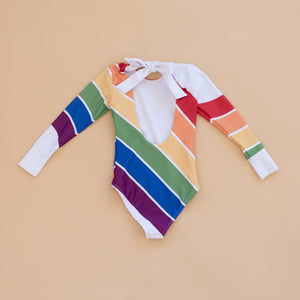 Primary Rainbow Long Sleeve Swim - Material Flaws