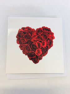 Small Red rose Heart Gift card