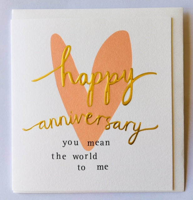 You mean the world to me Anniversary card