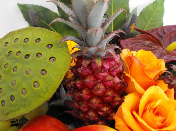 Tropical Fruit & Flower Gift Basket