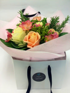 Peach and Cream Bouquet in a Gift Bag