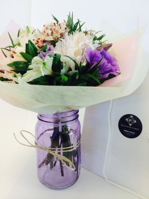Pastel posy in Mason Jar