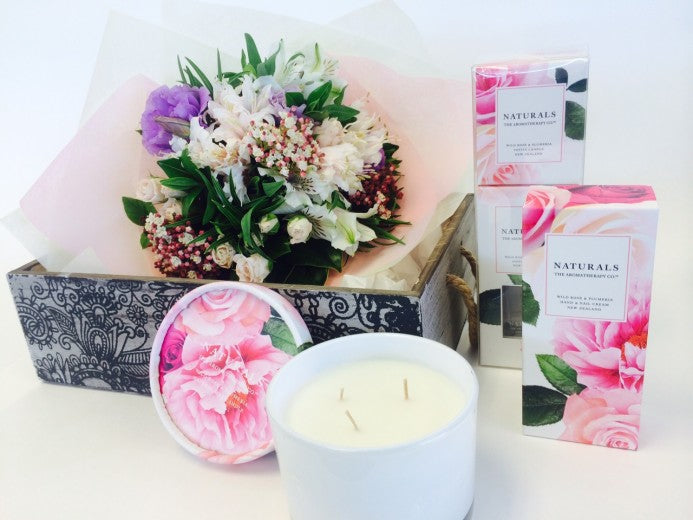 Gift Basket with Posy & Pamper products