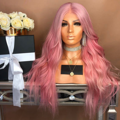 Pink wavy long hair¡ª 140%(Extra Thick As In Video)