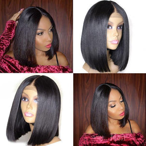 Black Short Bob Wig-140%(Extra Thick As In Video)