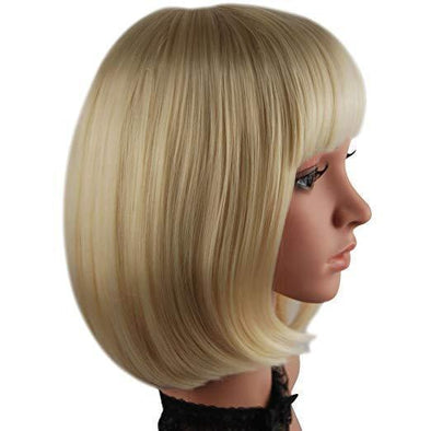 Three color Straight short BOB wig with flat bangs cosplay wig