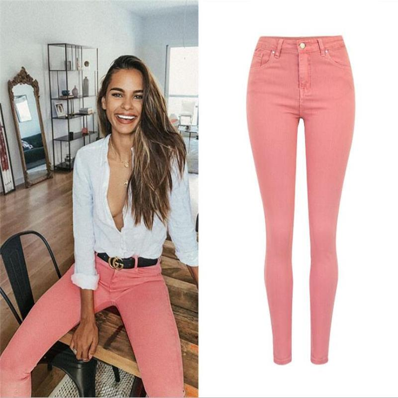 Women/'s Pencil Stretch Casual Denim Skinny Jeans Pants High Waist Trousers Hot