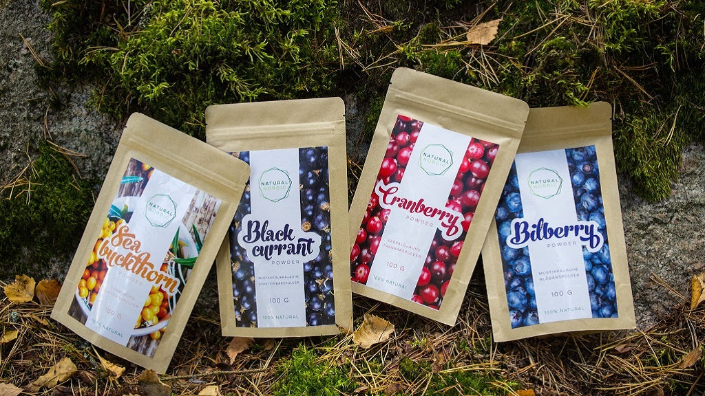 Natural Nordic Berry powder packages