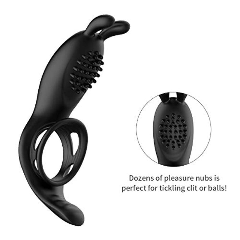 Penis Ring Rabbit Vibrator With Rabbit Ears Hand Held Massager - Adult Toys