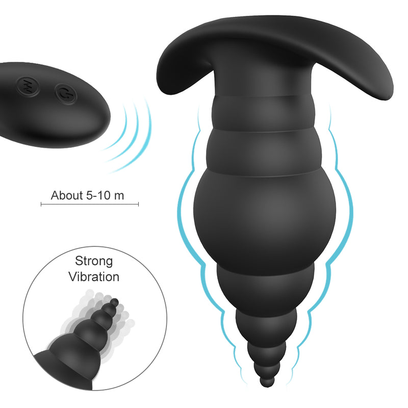 Wearable Wireless Anal Plug Beads Rotation Vibrator Prostate Massager - Adult Toys