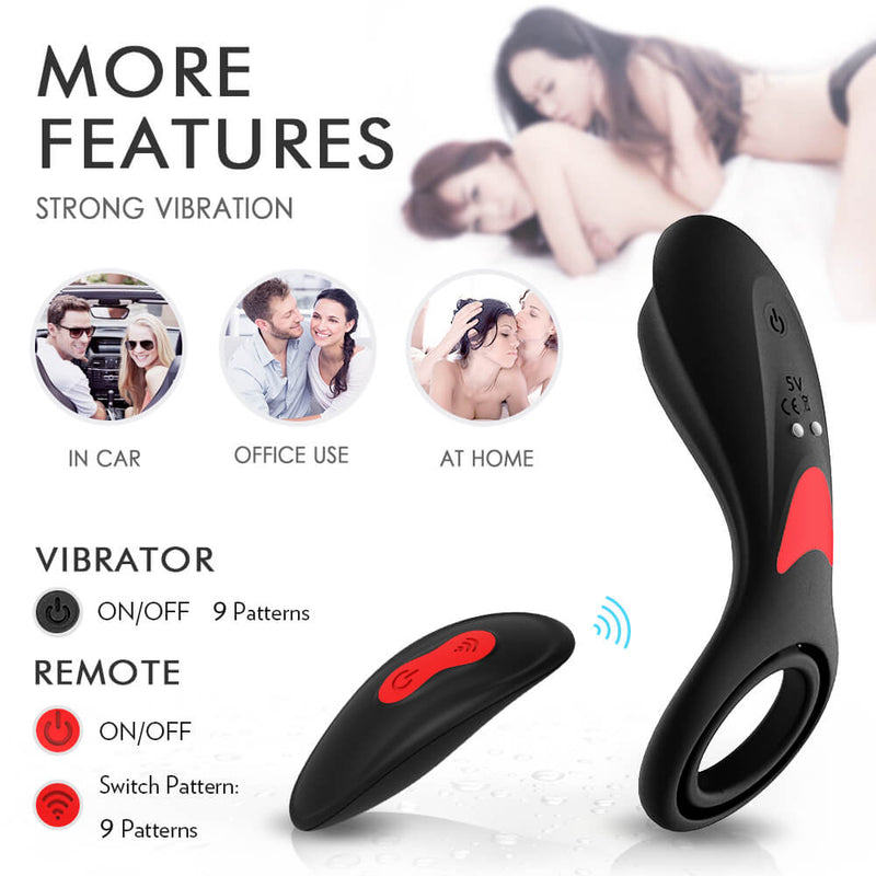 3in1 Double Loops Multiple Vibrating Cock Ring Handheld Massager - Adult Toys