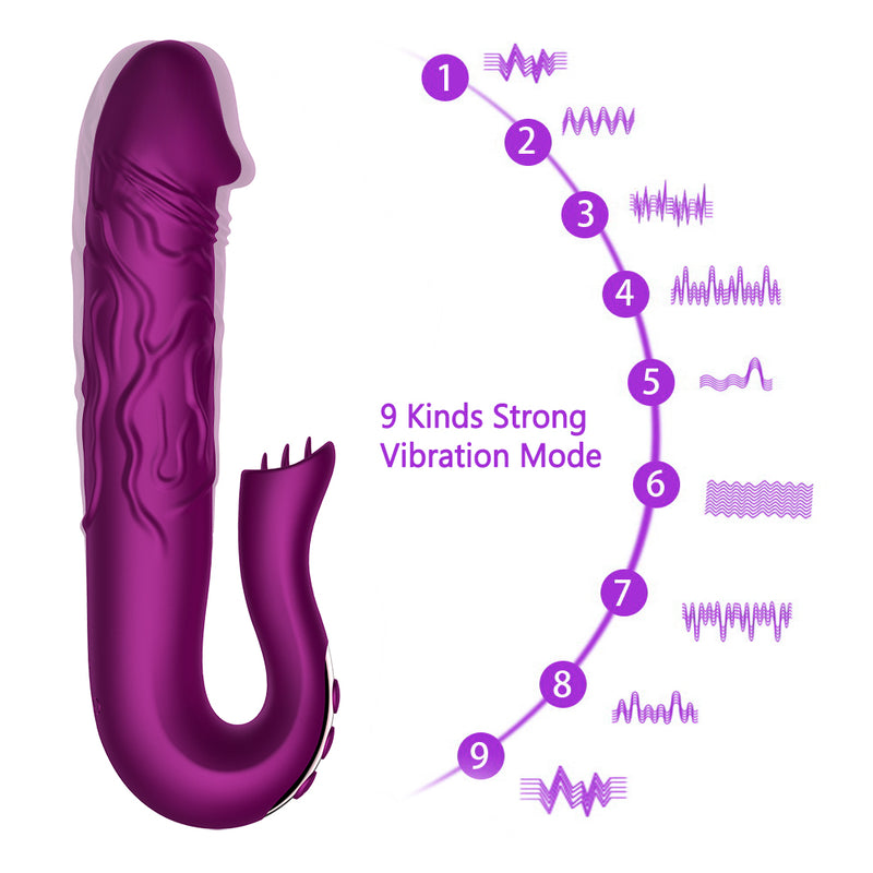 Telescopic Rotation Dildo G-spot Clitoris Sucker Vibrator - Adult Toys