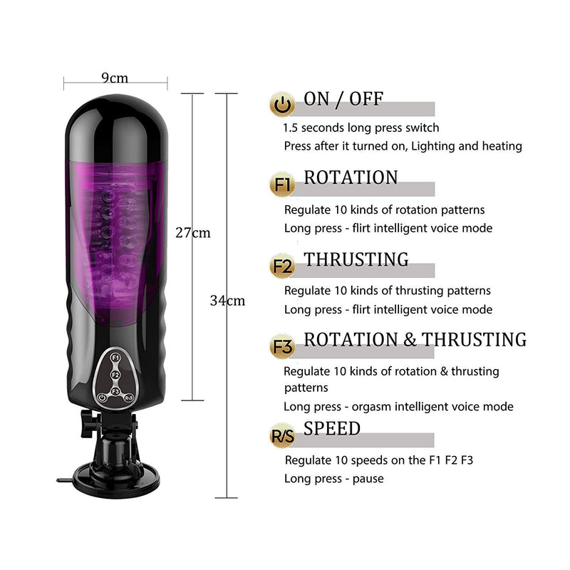 Realistic Auto Male Penis Masturbator Rotation Heating Vocal - Adult Toys