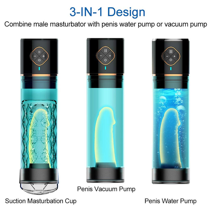 Rechargeable Penis Enlargement Male Masturbator Water Bath Air Vacuum Pump - Adult Toys