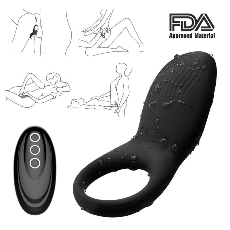 Multiple Vibrating Remote Control Penis Ring Clitoris Stimulator - Adult Toys