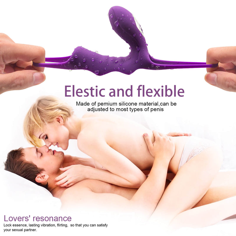 10 Vibration Modes Double Penis Rings Delay Ejaculation Adult Toy - Adult Toy