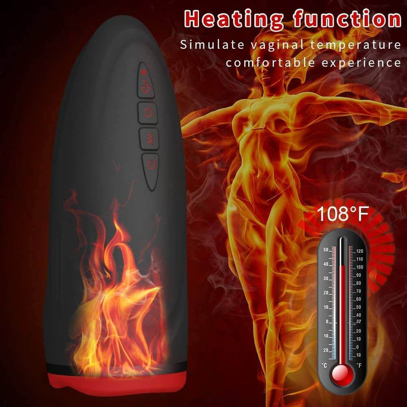 Male Sex Toy 7 Vibration Sucking Modes Heating Mouth Vagina