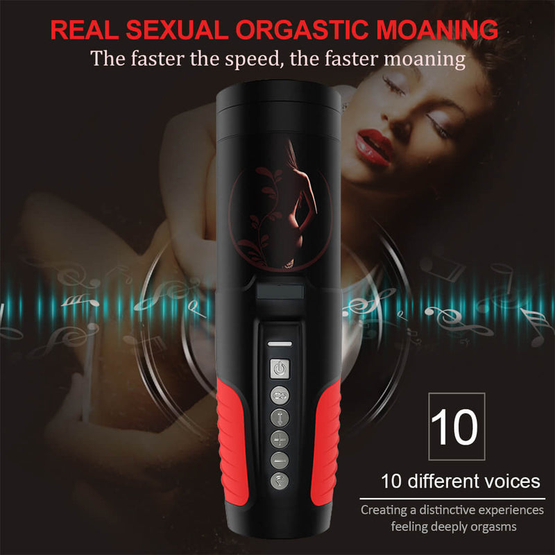 Auto Rotation 10 Sounds Vaginal Suction Cup Rechargeable Male Masturbator - Adult Toys